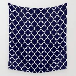 White Moroccan Quatrefoil On Navy Blue Wall Tapestry