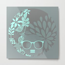 Afro Diva : Aqua Sophisticated Lady Metal Print