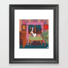 home is where the cats are Framed Art Print