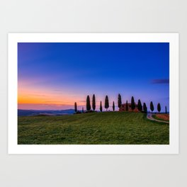 Cypress trees and meadow with typical tuscan house Art Print