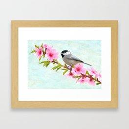 Chickadee Bird on a Branch Framed Art Print