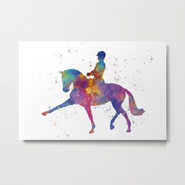 Woman competing on horse in watercolor Metal Print