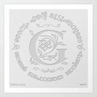 Joshua 24:15 - (Letterpress) Monogram G Art Print
