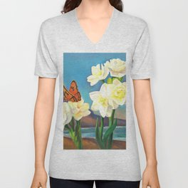 A Morning Greeting From Narcissus Flowers Unisex V-Neck