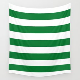 La Salle green - solid color - white stripes pattern Wall Tapestry
