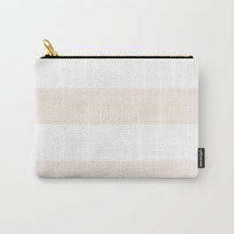 Wide Horizontal Stripes - White and Linen Carry-All Pouch