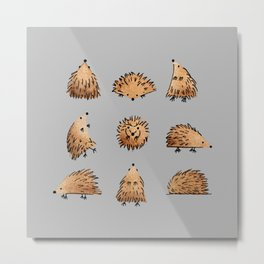 An Array of Hedgehogs - on grey Metal Print