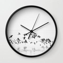Wading birds in Flight Wall Clock