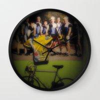 tour de france Wall Clocks featuring tour de france by Emanuele Reina