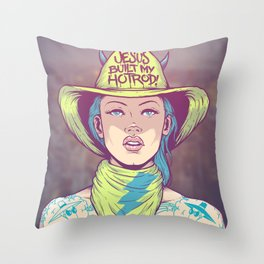 Jesus Built My Hot Rod Throw Pillow