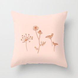 Wildflower Line Art Throw Pillow