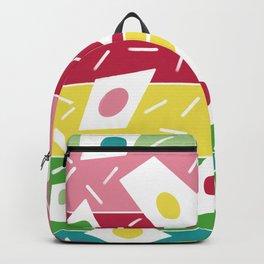 Summer garden geometric stripe pink red green  Backpack