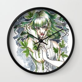 Poison Ivy Inktober Ink and Watercolor Illustration Wall Clock