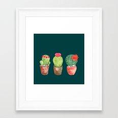 Three Cacti watercolor green Framed Art Print