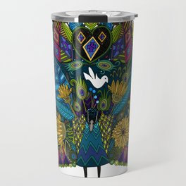 peacock garden white Travel Mug