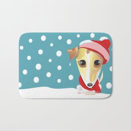 frozen jack russell with red scarf and red hat Bath Mat