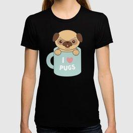 Kawaii Cute I Love Pugs T-shirt