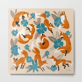 Foxes & Blooms – Tan & Blue Metal Print