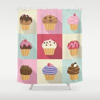 cupcakes Shower Curtains featuring Cupcakes by Rosa Puchalt