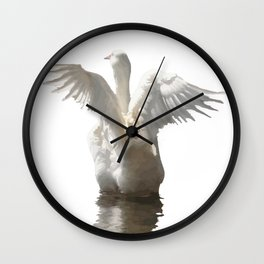 White Duck Flapping Wings on Water Vector Wall Clock