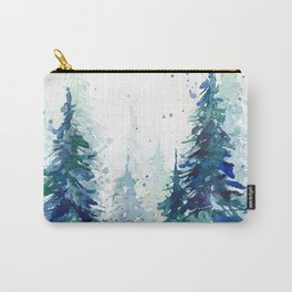 Watercolor winter fir forest Carry-All Pouch