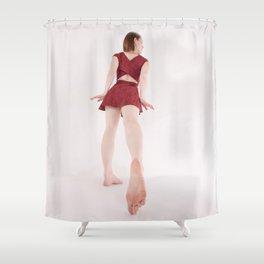 1185s-MM Barefoot Megan in a Little Red Dress High Key Art Photograph Shower Curtain