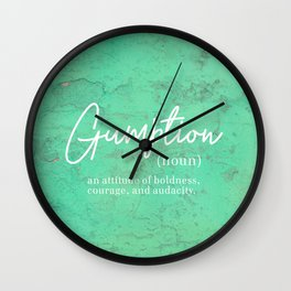 Gumption Definition - Word Nerd - Turquoise Texture Wall Clock