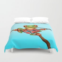Tree Frog Playing Acoustic Guitar with Flag of Norway Duvet Cover