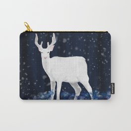 White deer in the snowy forest Carry-All Pouch