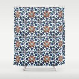 Iznik Tile Pattern Red Blue White Shower Curtain