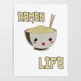 Ramen Life Japanese Noodles Bowl Vintage Retro Style Poster