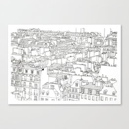 Rooftops of Paris, France _ Illustration _ Drawing _ Travel _ Rooftops Canvas Print