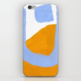 Minimalist Abstract Colorful Shapes Yellow Pastel Blue Mid Century Art iPhone Skin