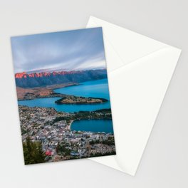 Red light on the Remarkables mountain in Queenstown at sunset Stationery Cards