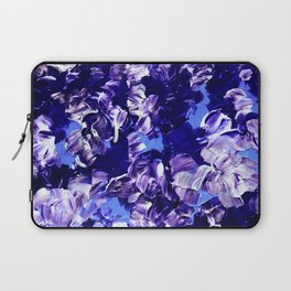FLORAL FANTASY 2 Bold  Blue Lavender Purple Abstract Flowers Acrylic Textural Painting Garden Art Laptop Sleeve