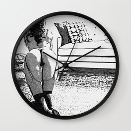 Good Pet - Sexy Submissive Girl Fantasy Artwork, black and white erotic, hot booty, lingerie view Wall Clock