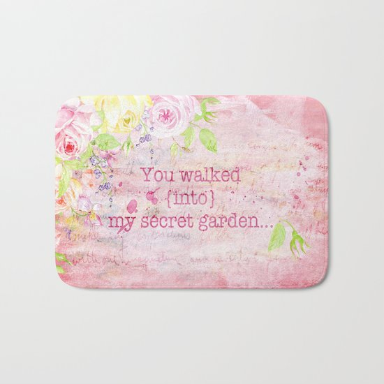 You walked into my secret garden - Pink flower typography Bath Mat