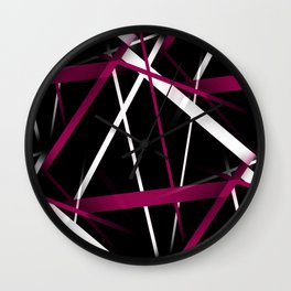 Seamless Rose Pink and White Stripes on A Black Background Wall Clock