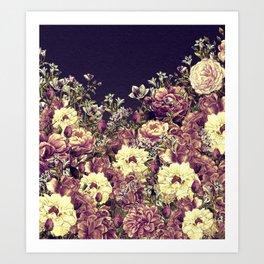 Vintage Garden 6 (Roses & Lavenders) Art Print