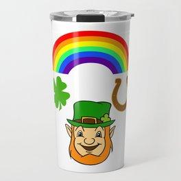 Rainbow Horse Shoe Leprechaun St Patricks Travel Mug