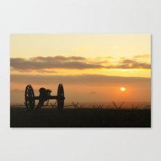Sunrise on a foggy Battlefield Canvas Print