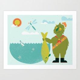 Harold Goes Fishing Art Print