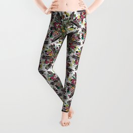 bohemian posy white Leggings