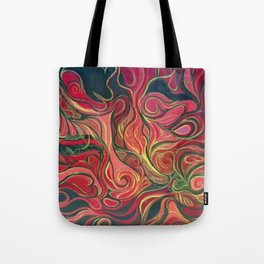 Abstract Red Gold and Black ~New Love Tote Bag