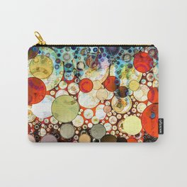 Contemporary Blue Orange Bubble Abstract Carry-All Pouch