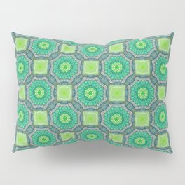 Octagon Kaleidoscope Flower in Green Turquoise and Gray Pillow Sham
