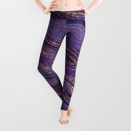 Purple Marble Glitter Gold Fluid Painting Pouring Jupiter Surface Glamorous Shiny Metallic Accents Leggings