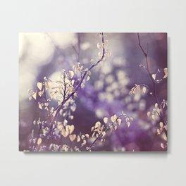 Purple Nature Photography, Violet Botanical Yellow Cream Photograph Metal Print