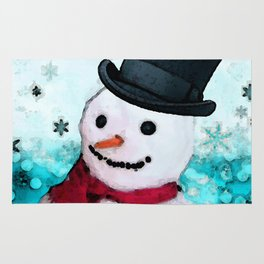 Snowman Christmas Art - Frosty - Holiday Artwork by Sharon Cummings Rug
