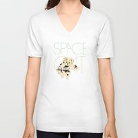 space cat V-neck T-shirts featuring Space Cat by Koning